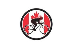 Canadian Cyclist Cycling Canada Flag illustrations to enhance webpages posters cards and documents. These illustration sets include watercolor hand-drawn and vector sets to use in projects for the web and print.