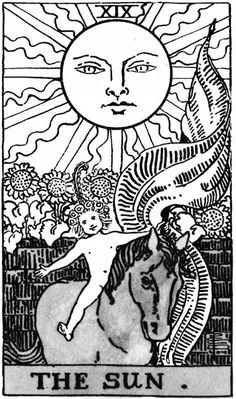 tarot card the sun black and white - Google Search