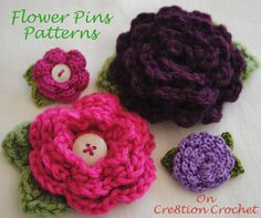 crochet hair clip | Crochet flower pattern for tiny hair clips. | Knitting and Crocheting
