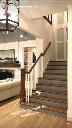 Carpet Runners Home Depot Canada Refferal: 5067551840 Painted Stair Risers, Painted Staircases, Stair Treds, Redo Stairs, Entryway Stairs, Oak Stairs, Farmhouse Stairs, Farmhouse Decor, Stair Walls