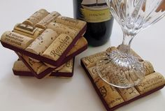 Upcycled Wine Cork Coasters With Plum Ribbon.  By LizzieJoeDesigns on etsy (13 dollars set of four)