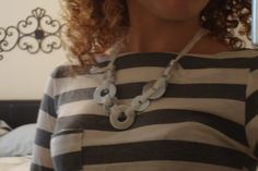 washer necklace, lace necklac