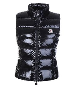 Moncler Vest for Women Smooth Shiny Fabric Black! Only $234.9USD