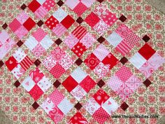 Red Four-Patch Quilt Table Topper by The Quilt Ladies #quilting