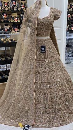 Gold bridal lehenga with blush & gold zardosi work, sequins & rose gold stones! Fabric - Organza Size - 38 Ready to Ship Latest Bridal Lehenga, Latest Bridal Dresses, Indian Bridal Outfits, Pakistani Wedding Outfits, Indian Bridal Lehenga, Wedding Dresses For Girls, Designer Bridal Lehenga, Lehenga Saree Design, Pakistani Dress Design
