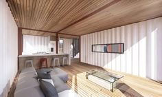 Container Cabin Canon City by Brad Tomecek. The glazing ensures plenty of natural light reaches the interior. Building A Container Home, Container Cabin, Container Buildings, Container Architecture, Container House Design, Tiny Houses For Sale, Little Houses, Cosy Interior, Interior Design