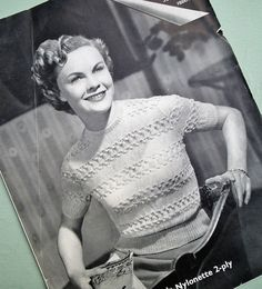 Vintage 1940s 1950s Knitting Pattern Women's by sewmuchfrippery