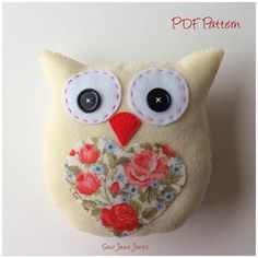 Owl PDF Pattern Lavender Scented Owl Tutorial by SewJuneJones Owl Templates, Leaf Template, Applique Templates, Flower Template, Applique Patterns, Pdf Sewing Patterns, Crown Template, Paper Butterflies, Butterfly Cards