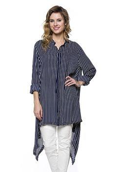 Pinstripe Oversize Button Down Blouse Shirt High Low Swallow Tale Shirt…