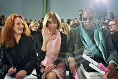 Grace Coddington, Anna Wintour, and Andre Leon Talley. The voices of Vogue. Vogue Fashion, Fashion Art, Anna Wintour Quotes, Grace Coddington, British American, Vogue Magazine, Fashion Editor, Front Row, A Team