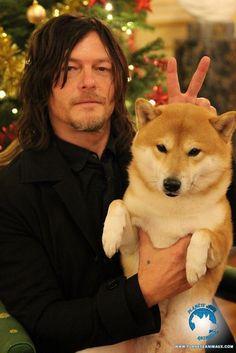 PsBattle: Norman Reedus holding a Shiba Inu