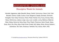 Animals Descriptive Words