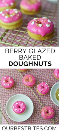 An easy baked doughnut topped with a sweet pink berry glaze! These Doughnuts are the perfect Valentine