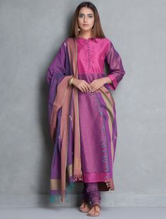 Buy Pink Purple Chanderi Kurta by Jaypore Women Kurtas Online at Jaypore.com