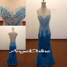 Royal Blue Prom Dresses.Sheer See Through Prom Dresses.Beaded Prom Dresses.Sexy Prom Dresses.Prom Dresses 2015.Elegant Evening Dresses Cheap