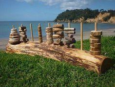 natural wood stacker