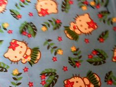 Hawaiian Hello Kitty Blue Hula Girl Cotton Fabric by cityofbells (Craft Supplies & Tools, Fabric, kawaii, pillow curtain apron, pillowcase fabric, sewing material, quilting cotton, sew fat quarter, blue green pink, white yellow, hula girl dance, kitch, girl's room decor, beach surf sand, wave water cat)