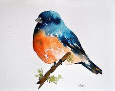 ORIGINAL Watercolor bird painting 6x8 inch