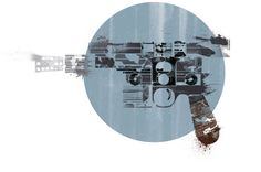 Sci-Fi and Fantasy Weapons as Minimalist Splatter Poster Art — The series was created by Etsy seller Harshness