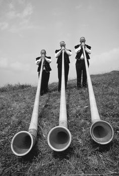 """""""Swiss men playing 12-foot-long alpenhorns at a midsummer Alpine Festival in Switzerland"""" 