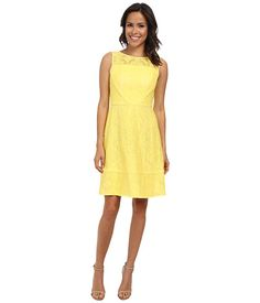 Adrianna Papell Medallion Lace Splice Fit & Flare