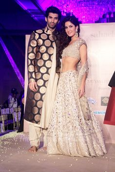Aditya Roy Kapur and Katrina Kaif pose on the ramp at the launch of Manish Malhotra's new collection titled, 'The Regal Threads'. #Bollywood #Fashion #Style #Beauty #Hot #Desi