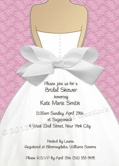 Handmade wedding dress bridal shower invitation you could send them bridal shower invitation lace bow design multiple colors diy print at home sweet melissa creations filmwisefo