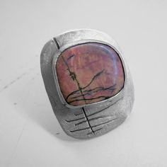 Big statement sterling silver ring with Rhodonite by applenamedD