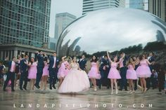 quinceanera photography ideas with dames and chambelanes. #chicagoquinceanera #chicagoquince #quinceanera #damas #chambelanes #pinkquinceanera (Landapixel Photography  //  landapixelphoto.com //  815-566-1435  // photo@landapixel.com)