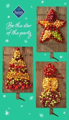 Get creative with your party presentation--turn Member's Mark Fruit & Cheese trays into whimsical creations. Best Christmas Recipes, Christmas Party Food, Christmas Appetizers, Christmas Brunch, Christmas Holidays, Christmas Candy, Christmas Goodies, Christmas Treats, Holiday Treats