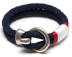 Pulsera náutica de la cuerda / gancho de oro por AllisonColeJewelry