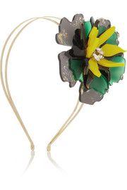 VICKISARGE+ Sam McKnight Floramorta gold-tone, acetate and Swarovski crystal headband