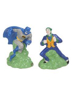 Magnetic ceramic salt & pepper shaker set with Batman Vs. The Joker design.