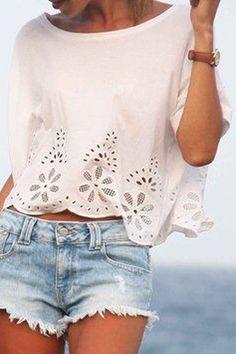 Floral Pattern Openwork Short Sleeve T-Shirt