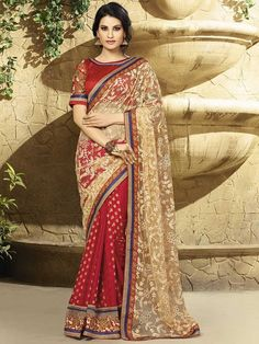 Red with Beige Partywear Designer Saree 2408KS