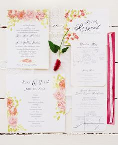 Painted Pink Roses Invitations | Kelly Sweet Photography | blog.TheKnot.com