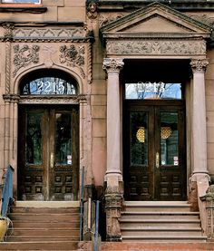 Two Victorian brownstone doorways dating from about the late 1880's.