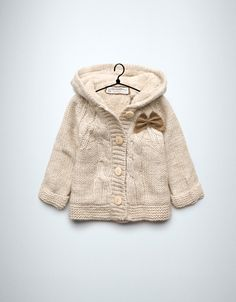 cable knit coat with bows - Cardigans and sweaters - Baby girl (3-36 months) - Kids - ZARA United States