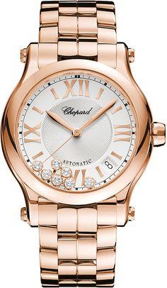 Chopard Happy Sport Medium Automatic 18ct Rose-Gold and Diamond Watch