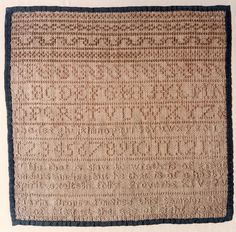 Sampler completed by Maria in 1822, the oldest Bronte sister