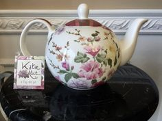 Katie Alice The Highland Fling Collection 6 Cup Teapot Purple Roses, Yellow Flowers, Vintage Teapots, English Teapots, Tea For One, Gold Medallion, Plaid Design, Pansies, Green And Gold