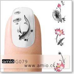Nail Decal Chinese Painting Fish Or Stamp With Black And Fill Shade White One Stroke Acrylic To Create The Illusion Of Ink