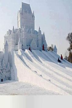 #Snow #Castle built in Harbin Snow Festival, #China