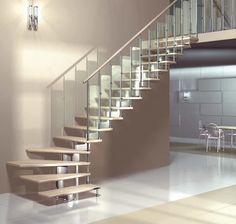 Escalera en L con zanca central modular para espacios pequeños (estructura metálica y peldaños de madera) - JUNIOR CHROME - Mobirolo