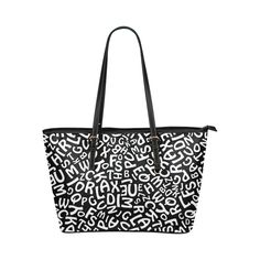 Alphabet Black and White Letters Leather Tote Bag/Small (Model White Letters, Large Tote, Small Bags, Safari, Alphabet, Tote Bag, Black And White, Cool Stuff, Model