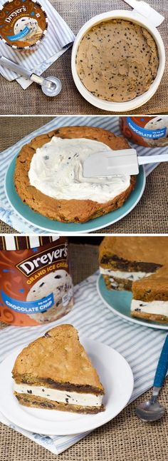 This shareable ice cream cookie cake is great for birthday parties, tea parties, pizza parties, sleepover parties - well, just about any party! Start by baking two layers of cookie dough in circular cake pans and let cool. Then, sandwich a thick layer of Dreyer's Chocolate Chip ice cream between the two and cut into wedges to get the party started!