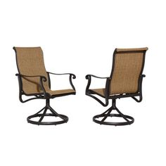 Allen + Roth Set Of 2 Safford Brown Sling Seat Extruded Aluminum Swivel  Patio Dining Chairs