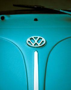 Arte de Volkswagen, Beetle, coche alemán - turquesa - Bug, auto foto - automóvil, VW 11 X 14 imprimir - regalo para él