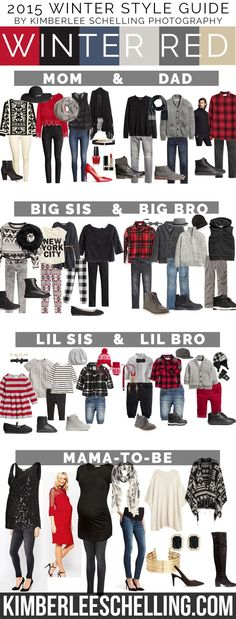 Family portrait outfits for What to wear for your family photos, including mom, dad, big sis Winter Family Pictures, Winter Photos, Family Pics, Family Christmas Photos, Holiday Photos, Outfits For Christmas Pictures, Holiday Outfits, Winter Tips, Christmas Clothes