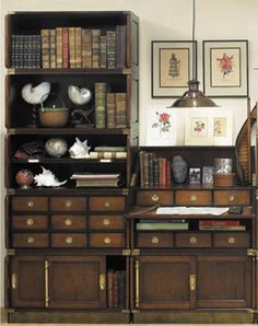 Campaign Style Modular Stacking Units: 19th century furniture makers serving the British Empire were faced with the challenge of combining art and science as they created furniture meant to withstand the rigors of travel, whether by sea or desert caravan. These modular stacking units allow for a simple single stack arrangement or an entire wall of organization.